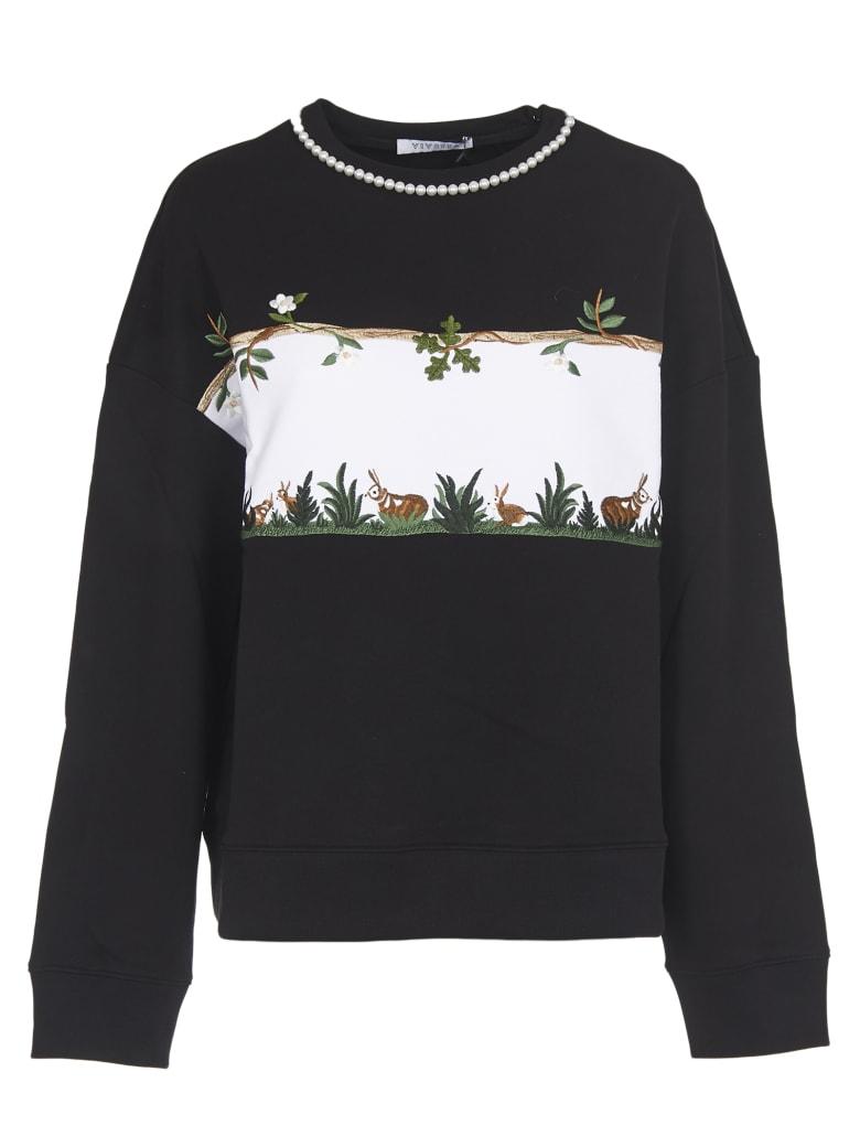 Vivetta Crewneck Sweatshirt With Pearl - Black