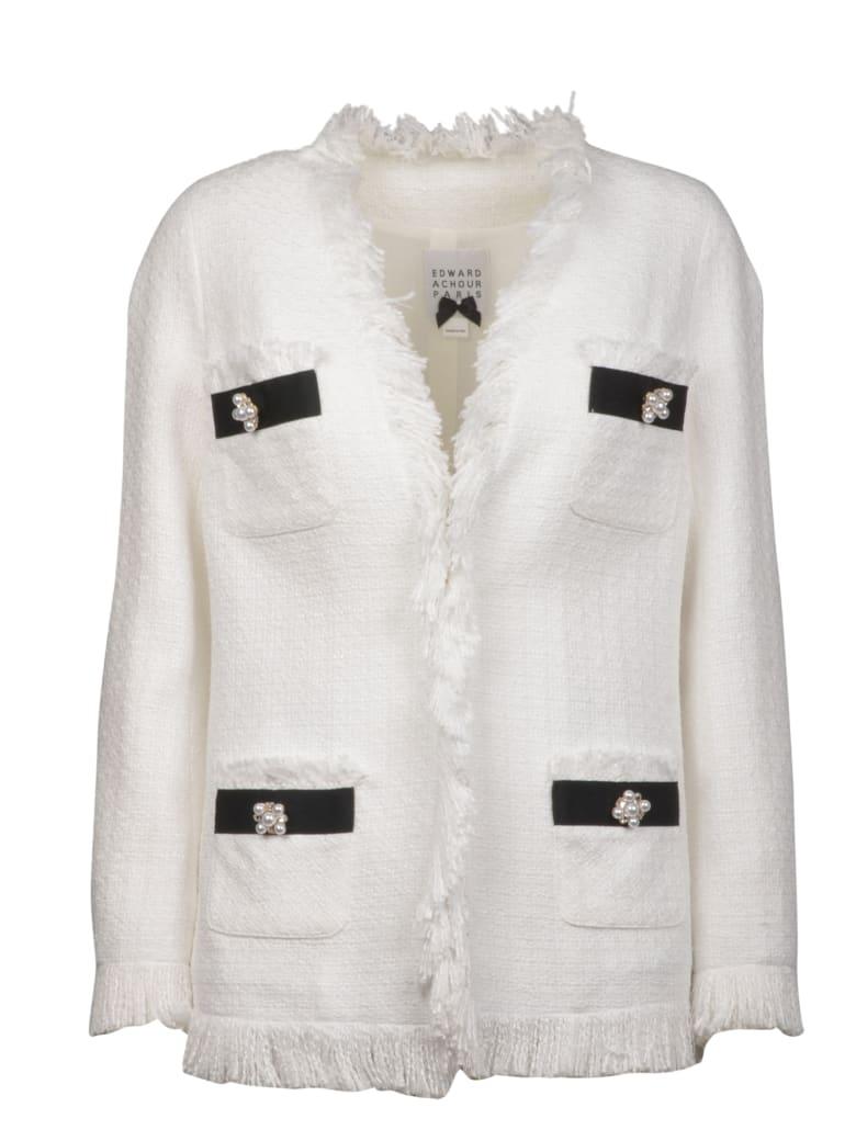 Edward Achour Paris Tweed Jacket With Fringes - White