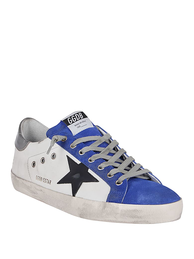 Golden Goose White  Leather Super-star Sneakers - WHITE/ROYAL BLUE/BLACK/SILVER