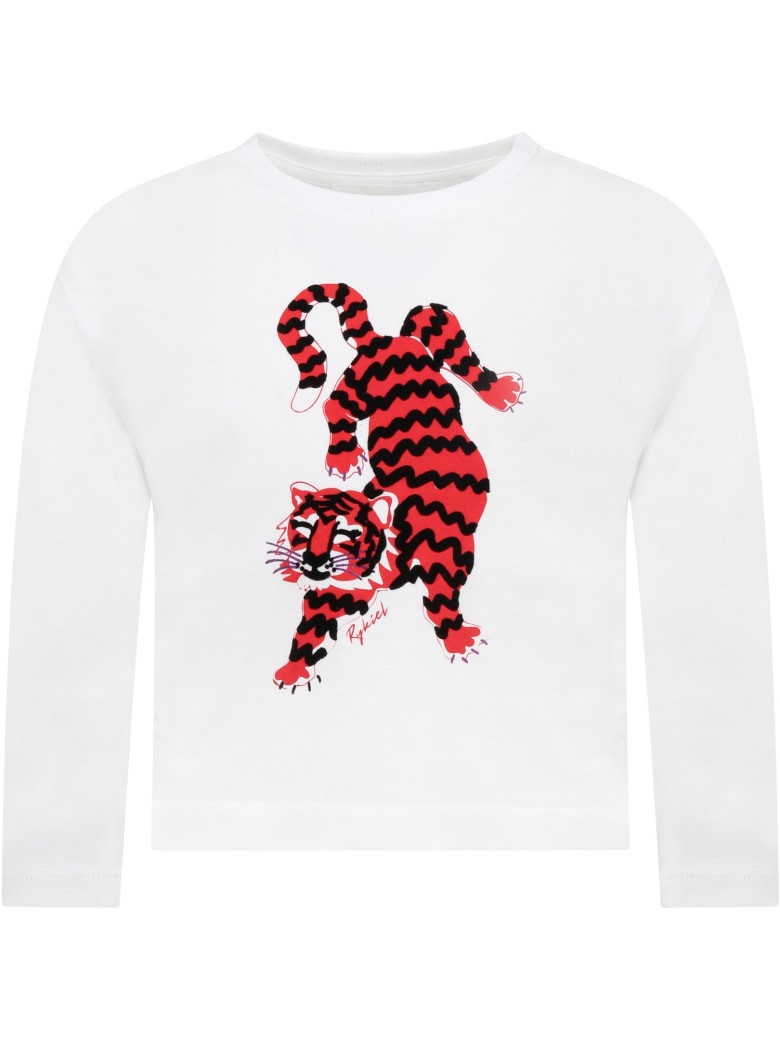 Sonia Rykiel White T-shirt For Girl With Tiger - White