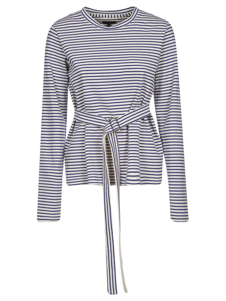 Jejia Belted Striped Top - White/Blue