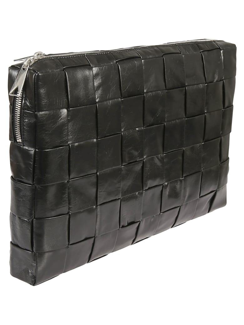 Bottega Veneta Top Zip Woven Clutch - Black/Silver