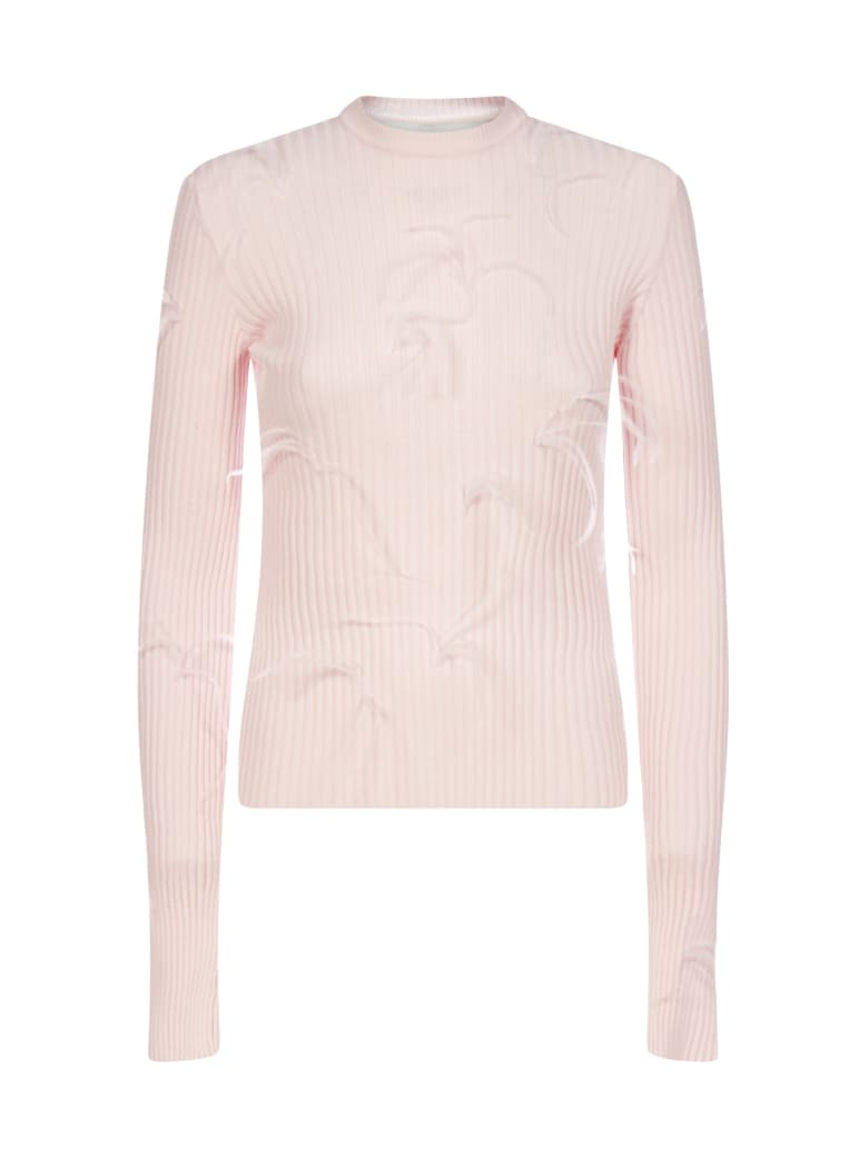 Marques'Almeida Feather-embellished Viscose-knit Sweater - Pink