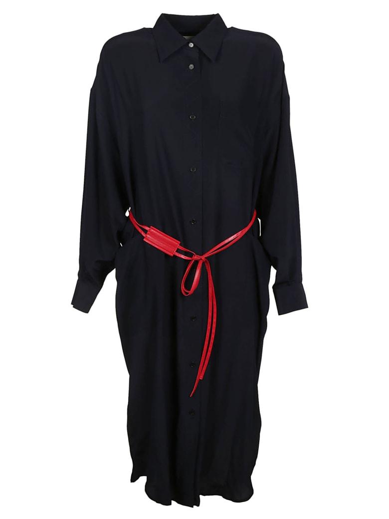 Victoria Beckham Buttoned Dress - Navy/red