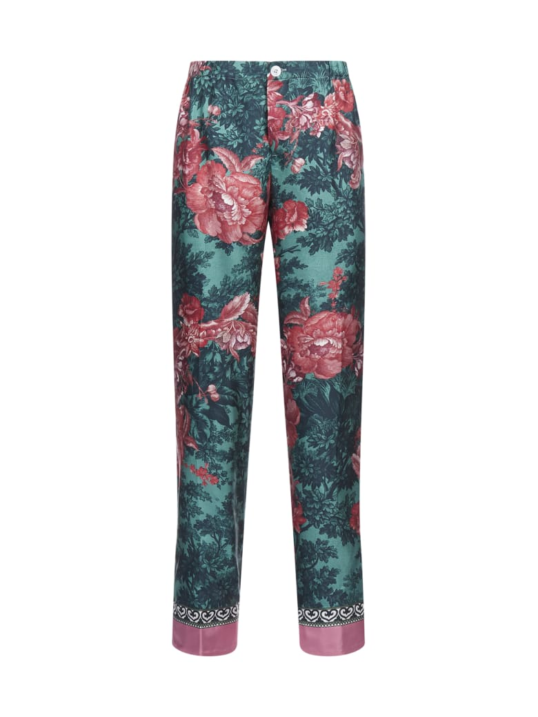 For Restless Sleepers Etere Silk Twill Trousers - Pavone verde rosa