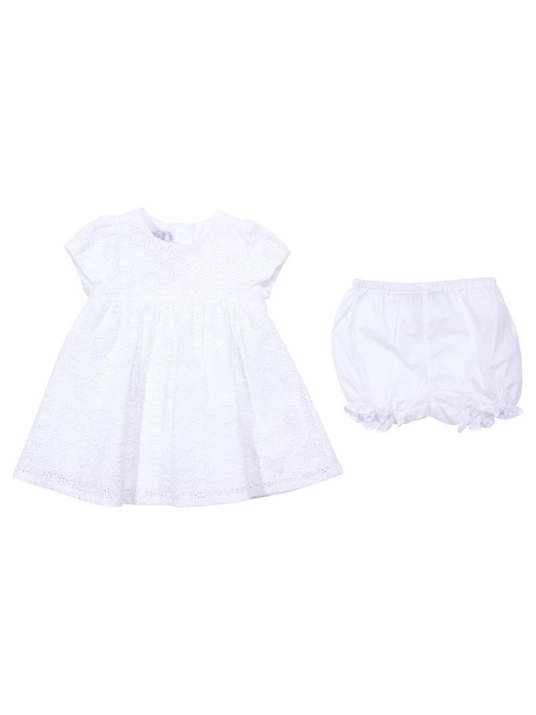 Baby Dior White Broiderie Anglaise Dress & Diaper Cover - Bianco
