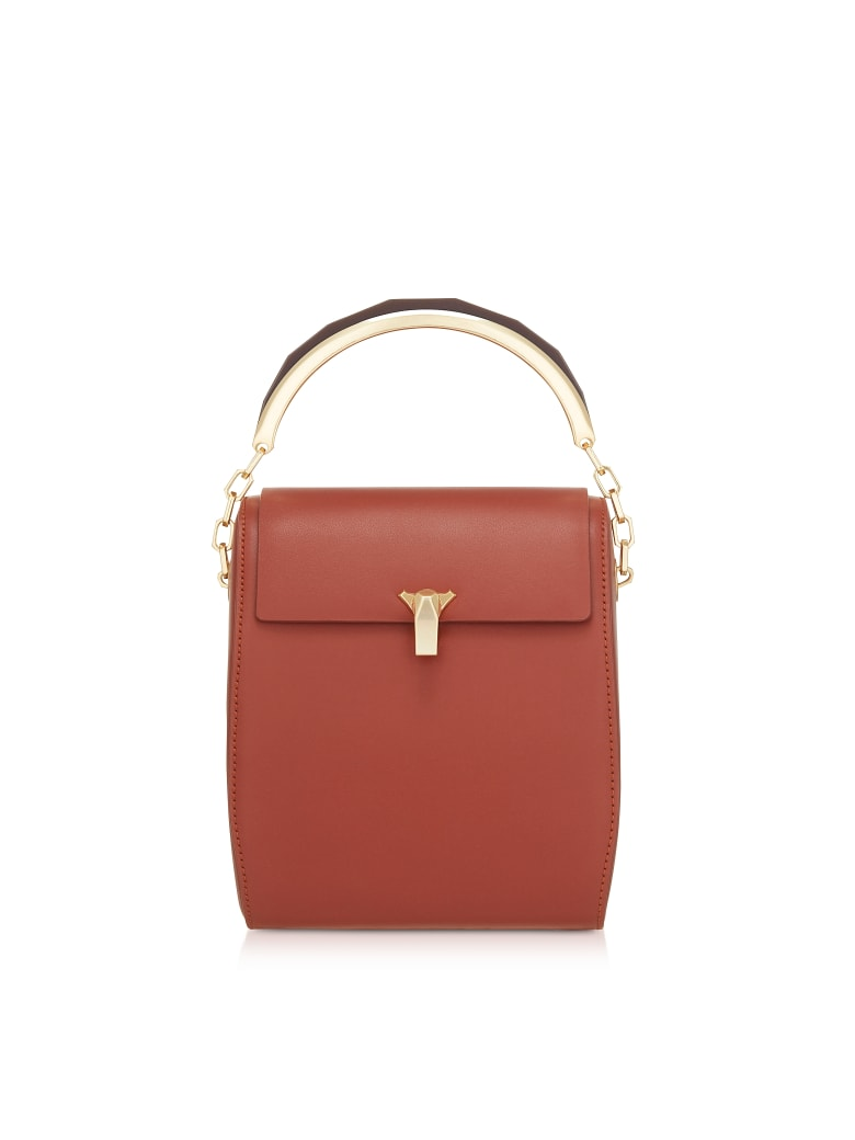 the VOLON Tan Po Leather Box Bag - Tan