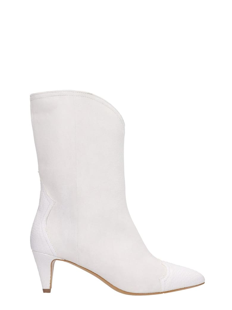 The Seller High Heels Ankle Boots In White Suede And Leather - white
