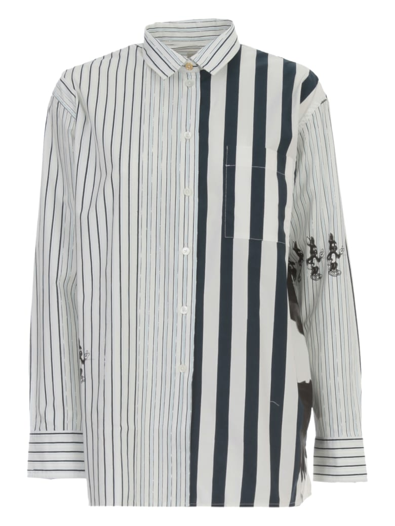 Paul Smith Shirt L/s Cotton W/patch And Stripes - Coblu