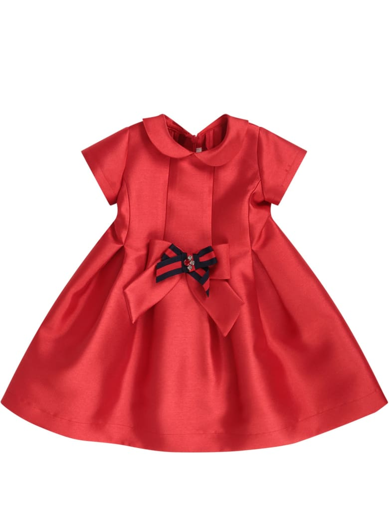 LòLò Red Girl Dress With Red And Blue Bow - Red