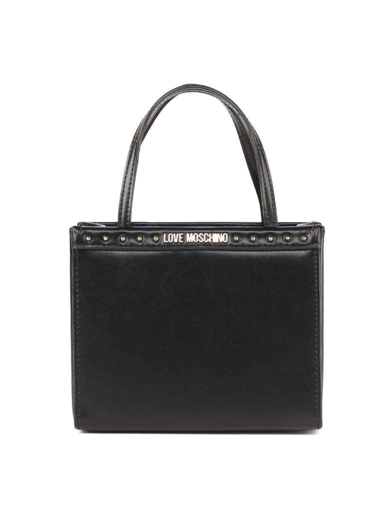 Love Moschino Love Moschino Black Faux Leather Studs Bag - Black