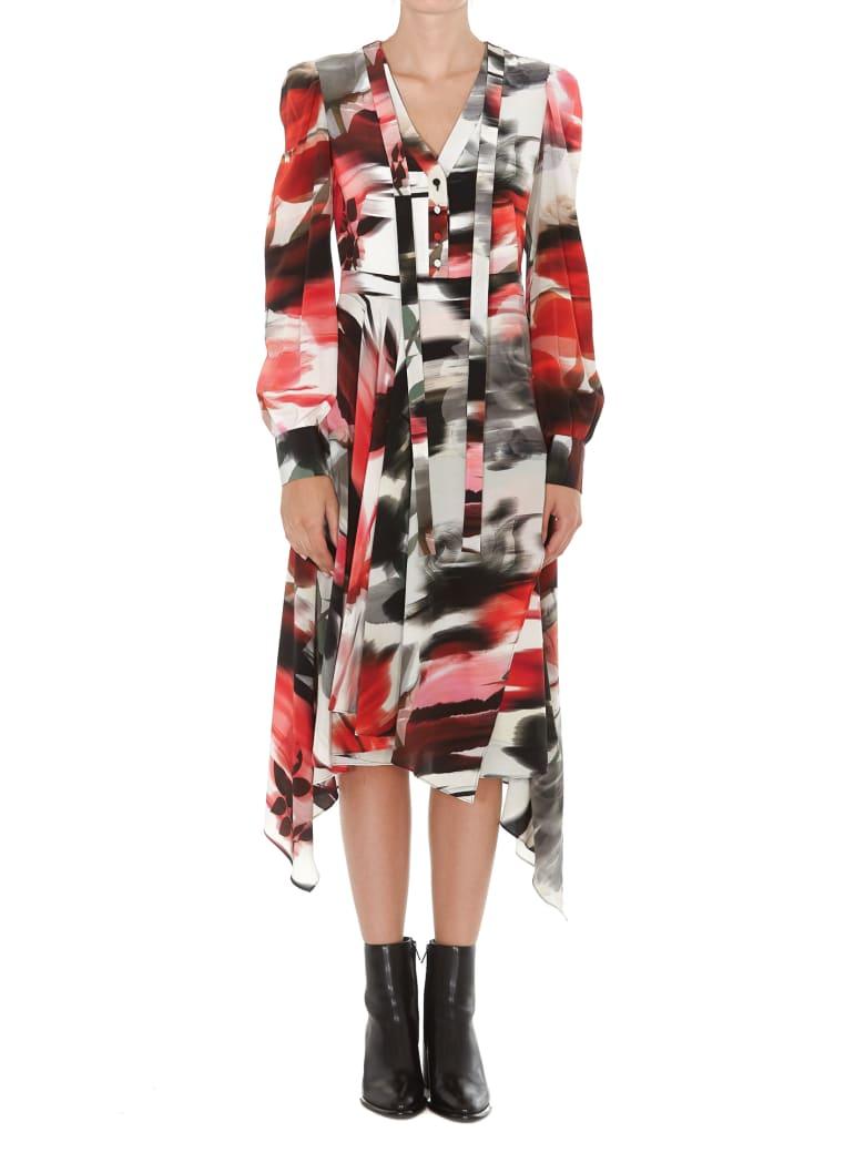 Alexander McQueen Torn Rose Midi Pleated Wide Dress - Multicolor