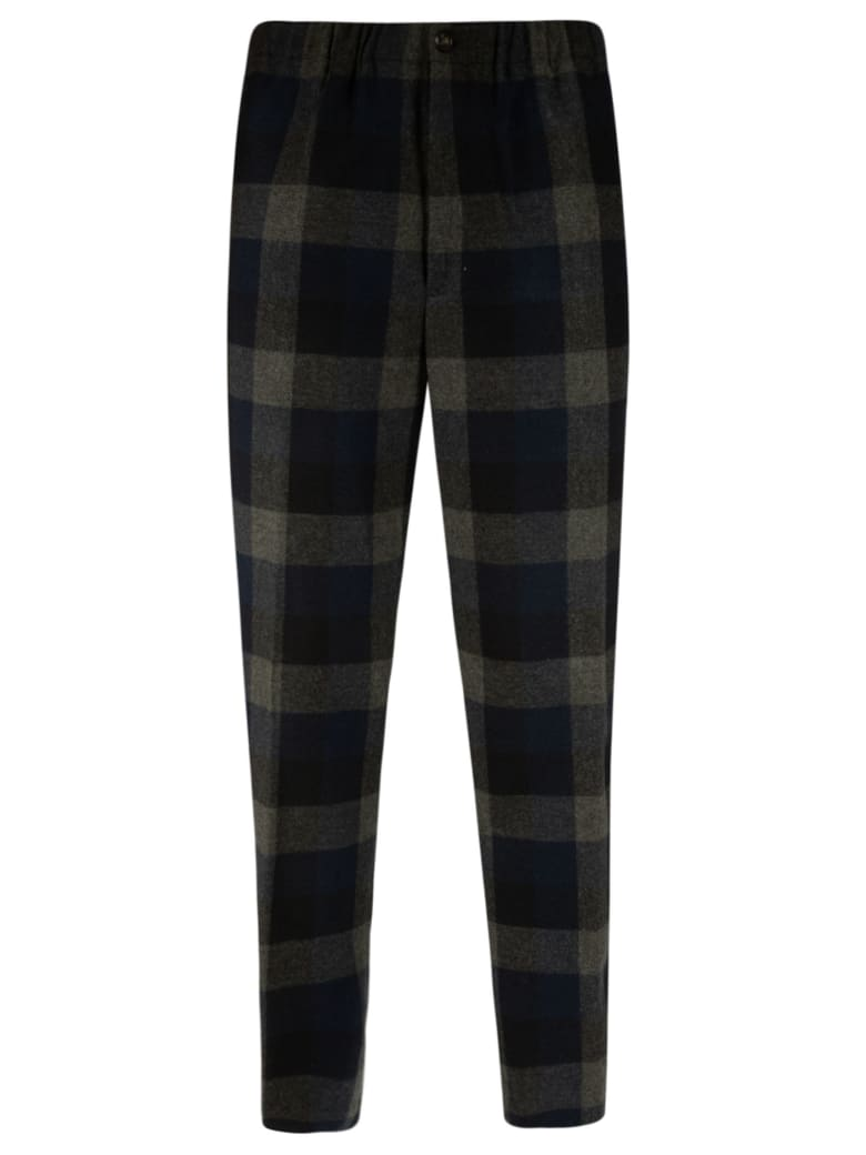 Kenzo Check Wool Jogging Pants - Navy/Grey/Black
