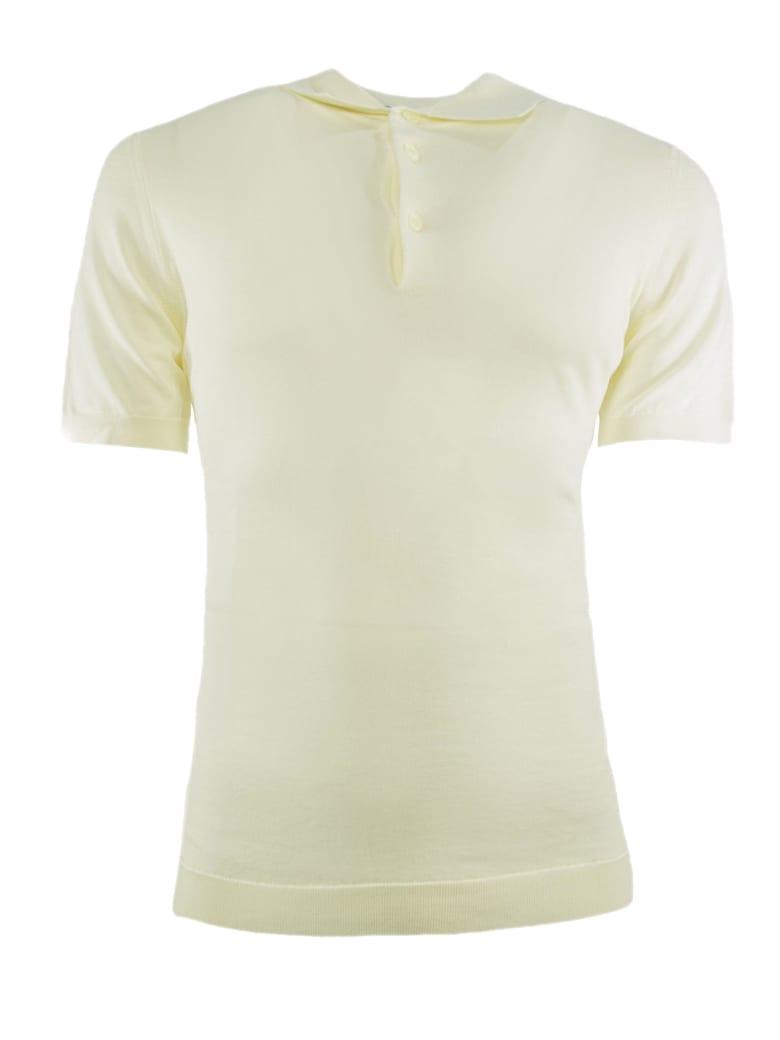 Drumohr White Cotton Polo Shirt - Panna