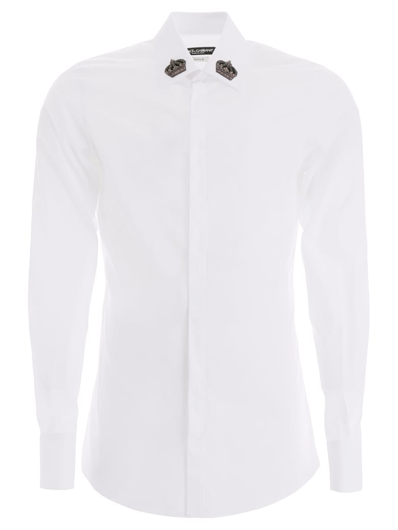 Dolce & Gabbana Gold Fit Shirt With Crown Patches - BIANCO OTTICO (White)