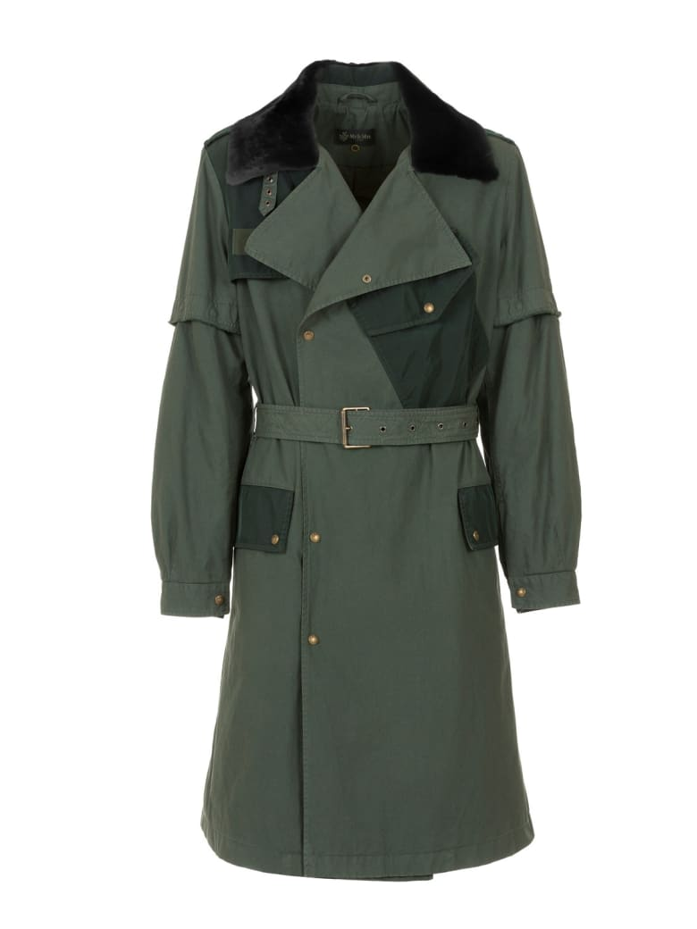 Mr & Mrs Italy Nick Wooster Capsule Unisex Trench With Lamb Fur - DARK LONDON GREEN / LONDON GREEN / VERDONE