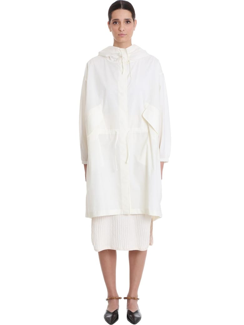 Jil Sander Essential Outdo Casual Jacket In White Cotton - white
