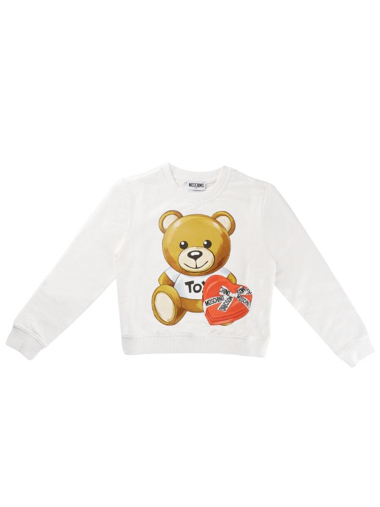 Moschino Crew Neck Sweatshirt With Ivory Bear Print - Ivory