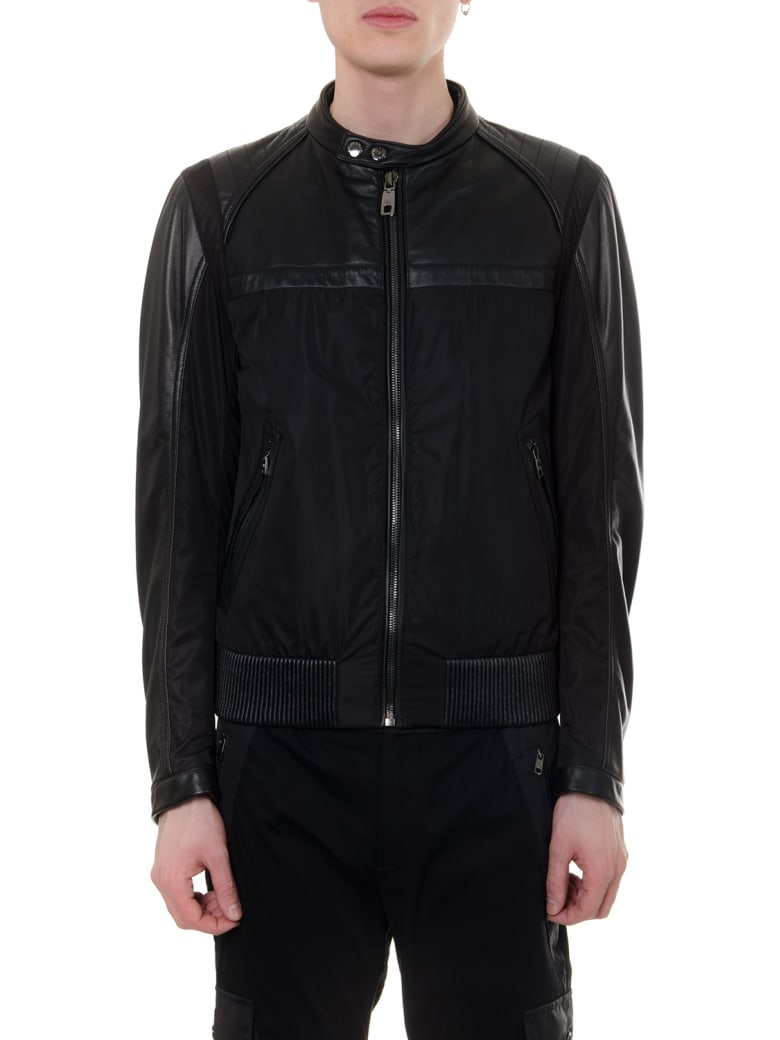 Dolce & Gabbana Black Leather & Nylon Biker Jacket - Black