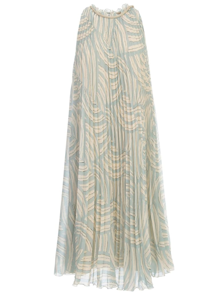 Erika Cavallini Coleen Dress Print Plisse W/lace On Neck - Waves One Azzurro Crema