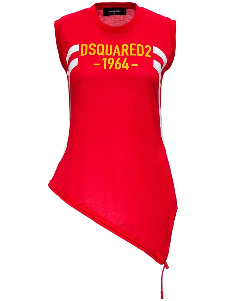 Dsquared2 Mercerized Cotton Tank Top With Drawstring - Red