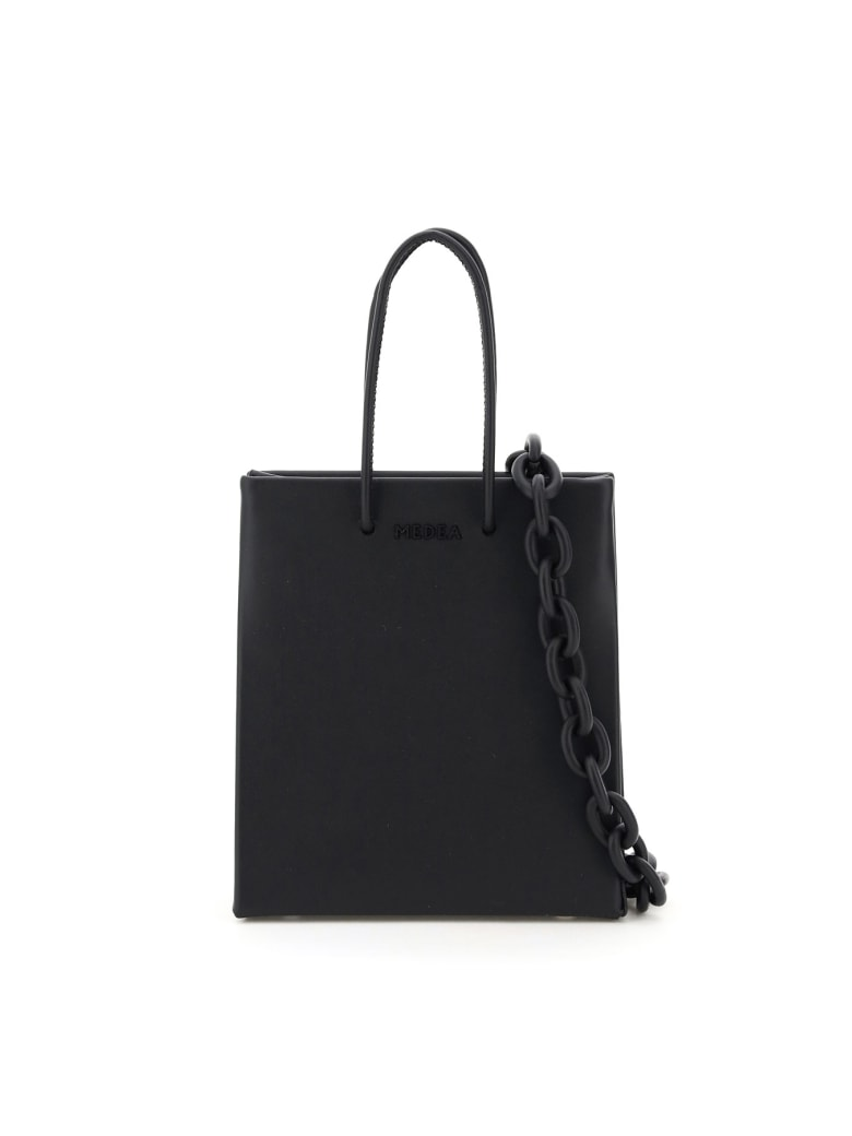 Medea Short Prima Bag With Leather Chain - BLACK (Black)