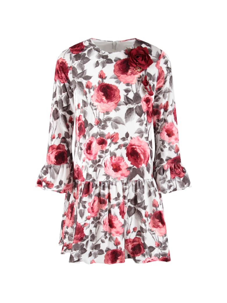 Blumarine White Dress For Baby Girl With Red Roses - White