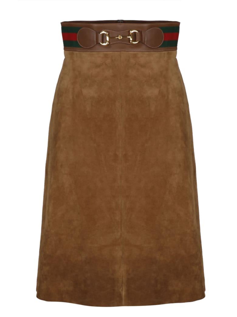 Gucci Web Tape And Clamp Midi Skirt - Cigar