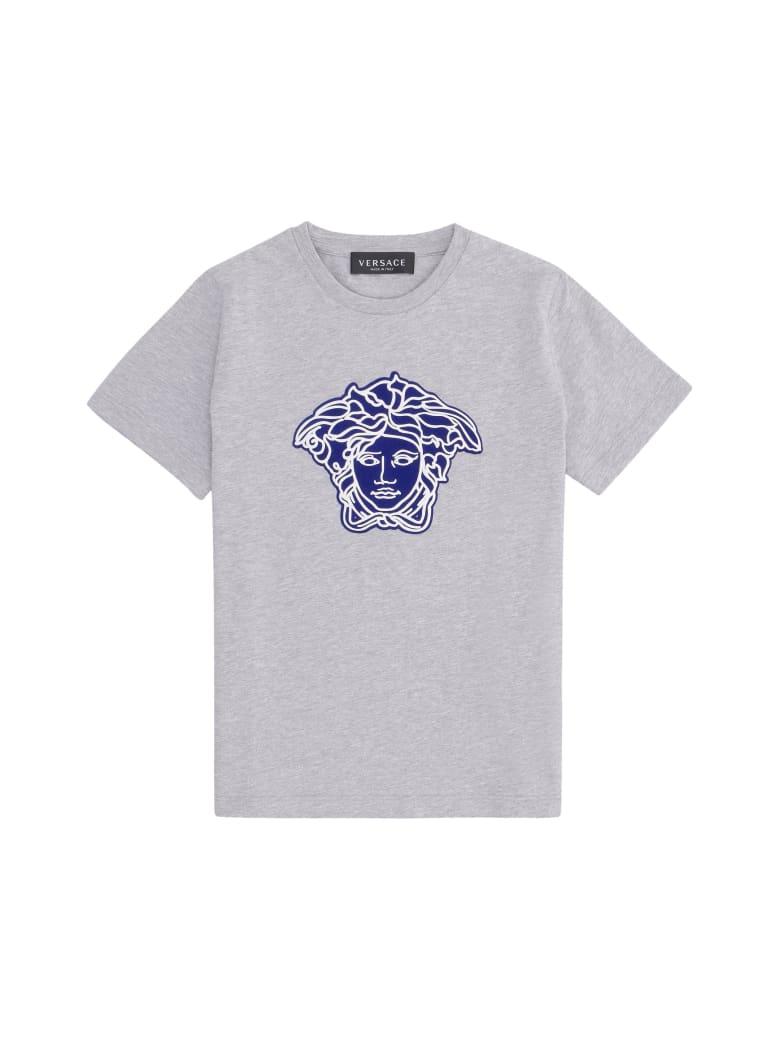 Young Versace Printed Cotton T-shirt - grey