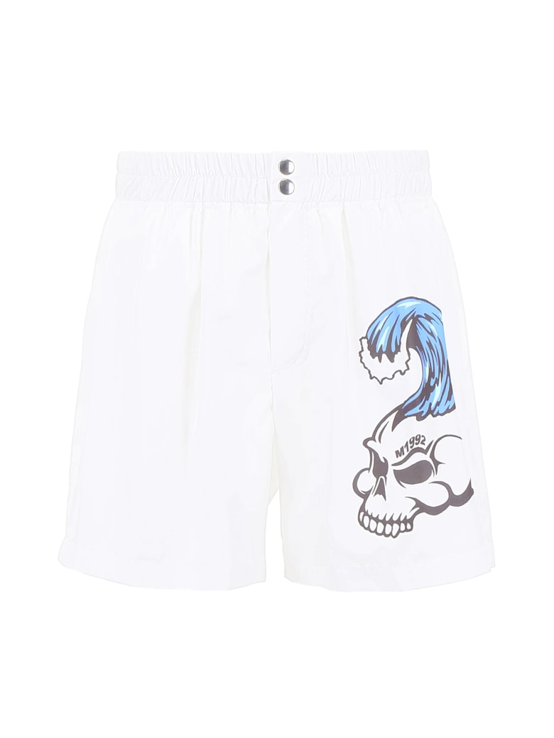 M1992 Skull Print Swim Shorts - BIANCO NATURALE (White)