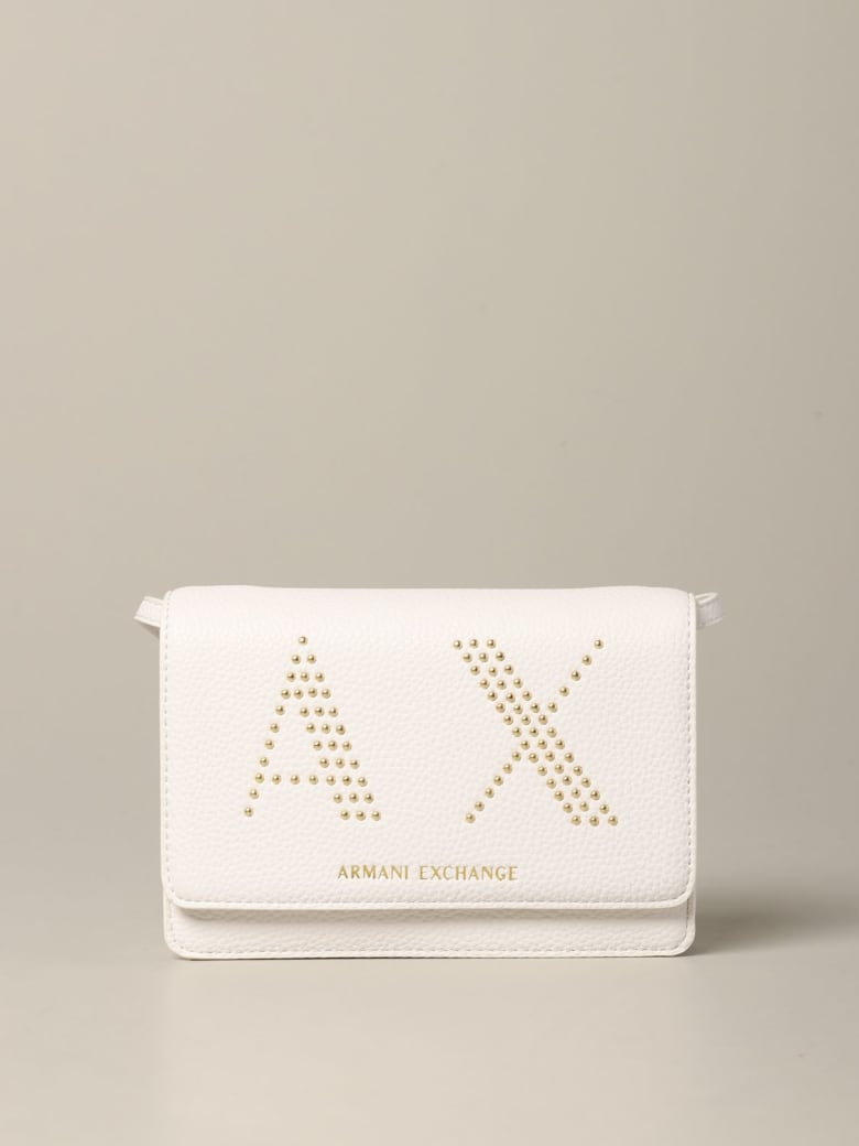 Armani Collezioni Armani Exchange Mini Bag Armani Exchange Bag In Synthetic Leather With Ax Logo Of Studs - white