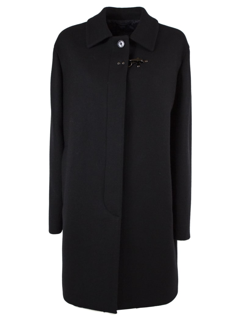 Fay Black Wool Blend Coat - Nero