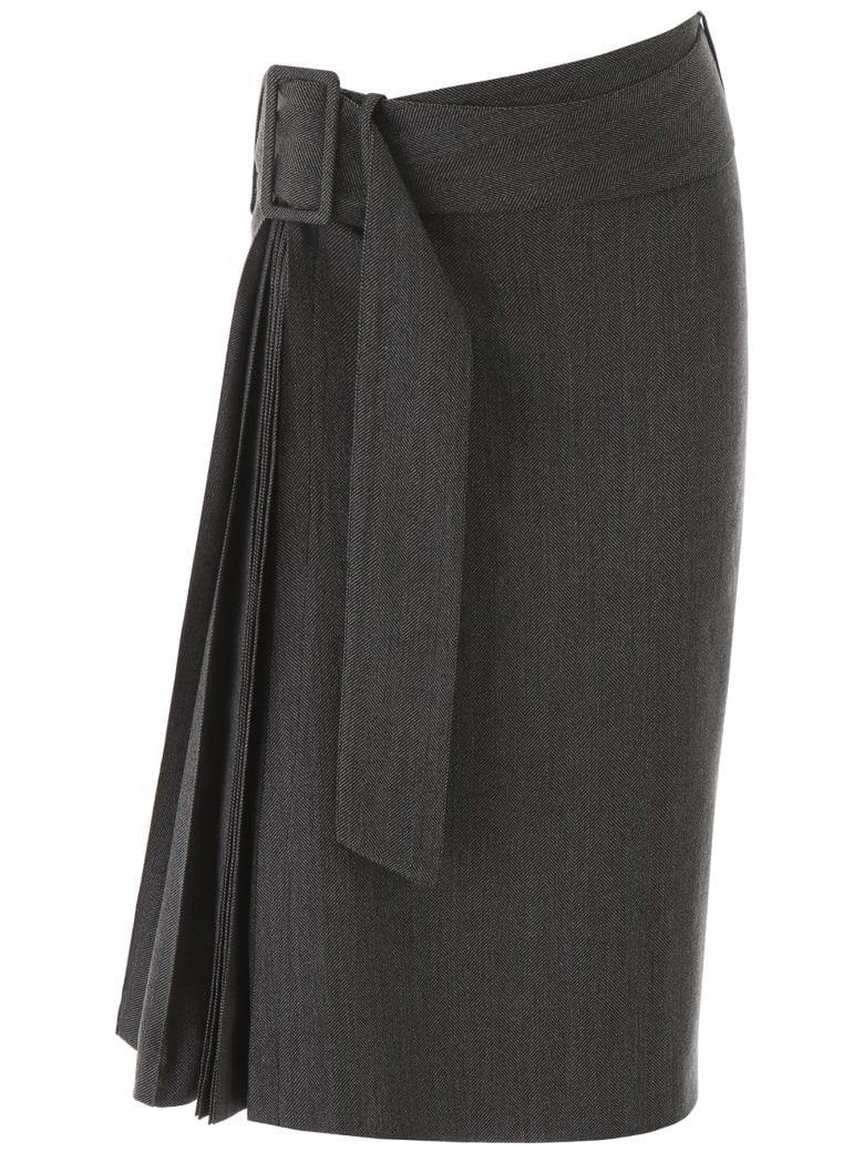 Rokh Belted Pleat Skirt - DIM GREY (Grey)
