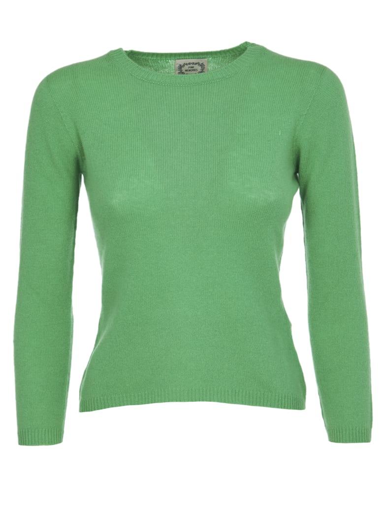 Pink Memories Green Cashmere Sweater - Green