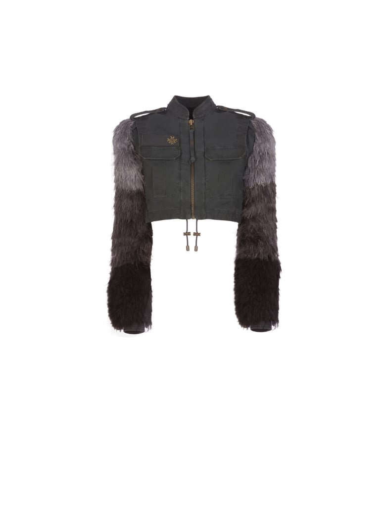 Mr & Mrs Italy Audrey Tritto Capsule Cropped Jacket With Removable Bolero - ANTRACITE / ANTRACITE/LONDON GREEN/ARMY