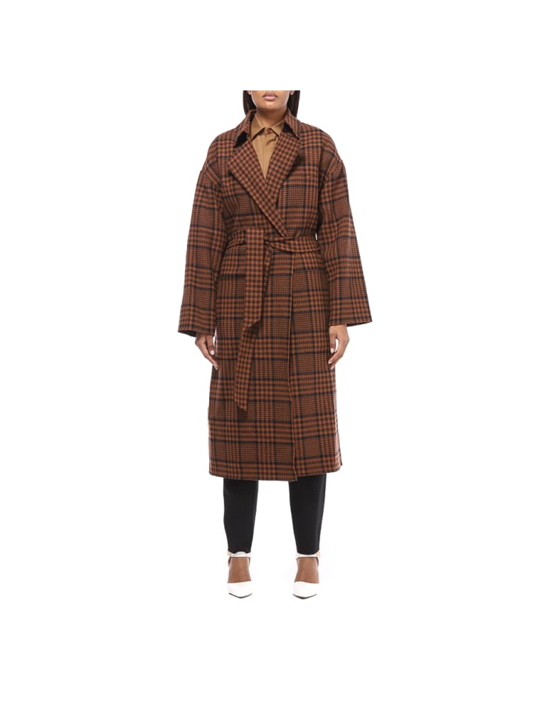 Nanushka Coat - Navy Rust Check