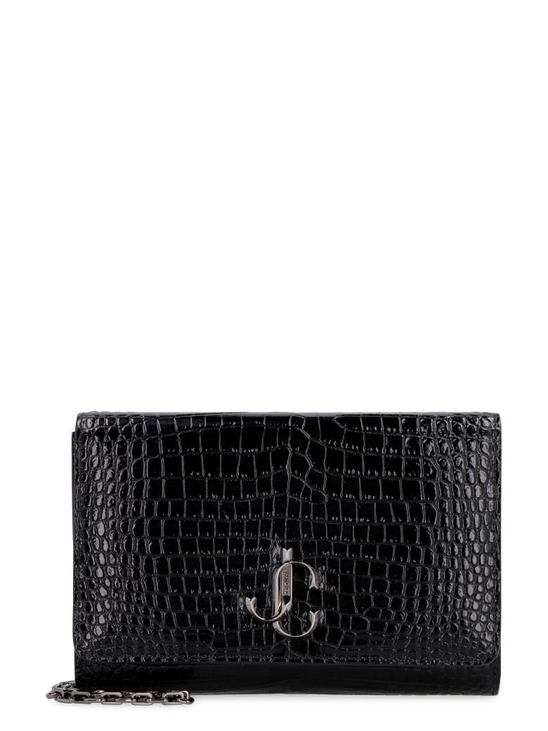 Jimmy Choo Candy Croco-print Leather Clutch - black