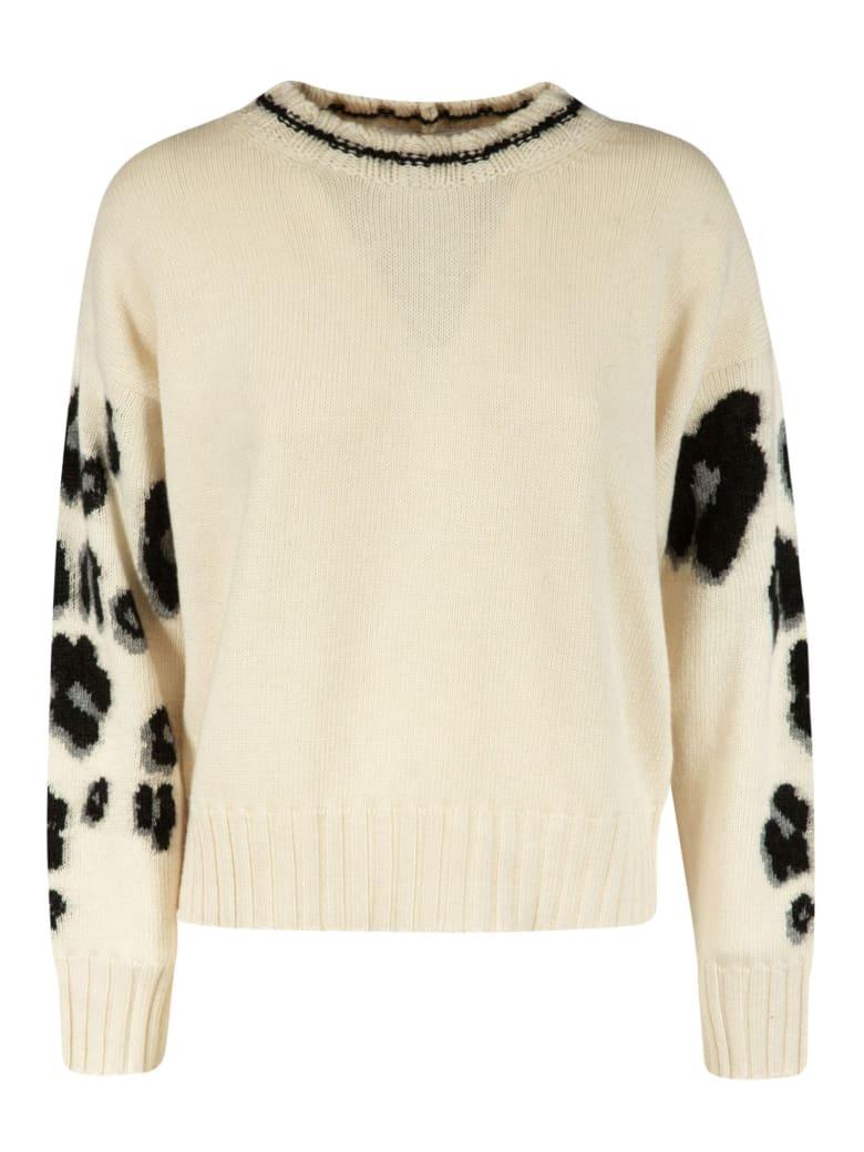 Vivetta Sleeve Leopard Knit Sweater - White/Black