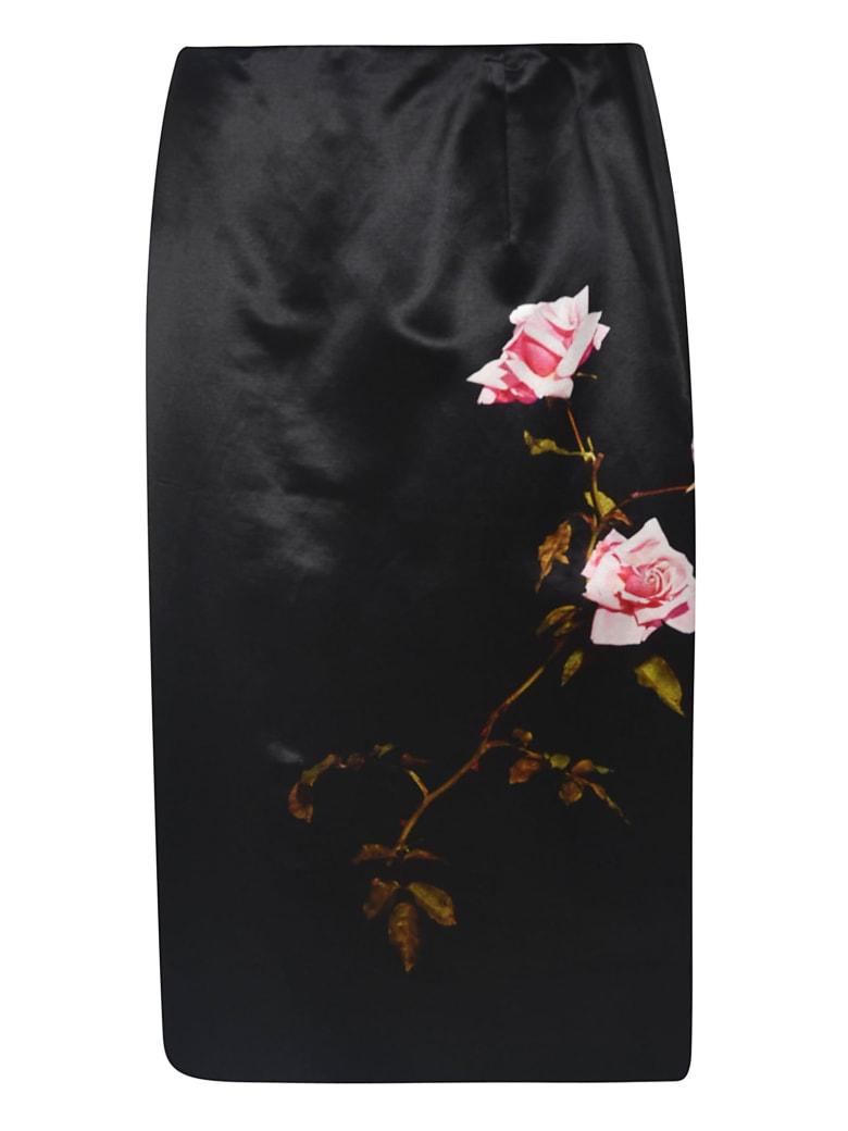 Dries Van Noten Rose Print Skirt - Black