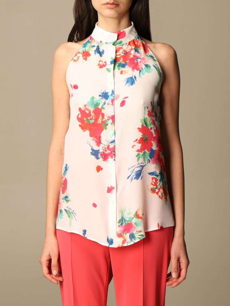 Boutique Moschino Top Floral Patterned Silk Blend Shirt - White