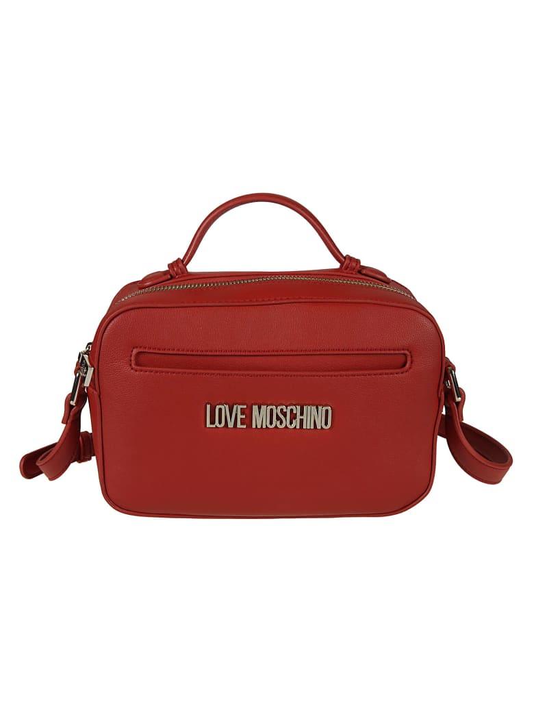 Love Moschino Top Zip Logo Plaque Shoulder Bag - Fantasy