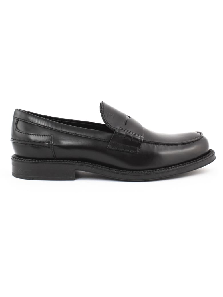 Tod's Loafers In Black Leather - Nero