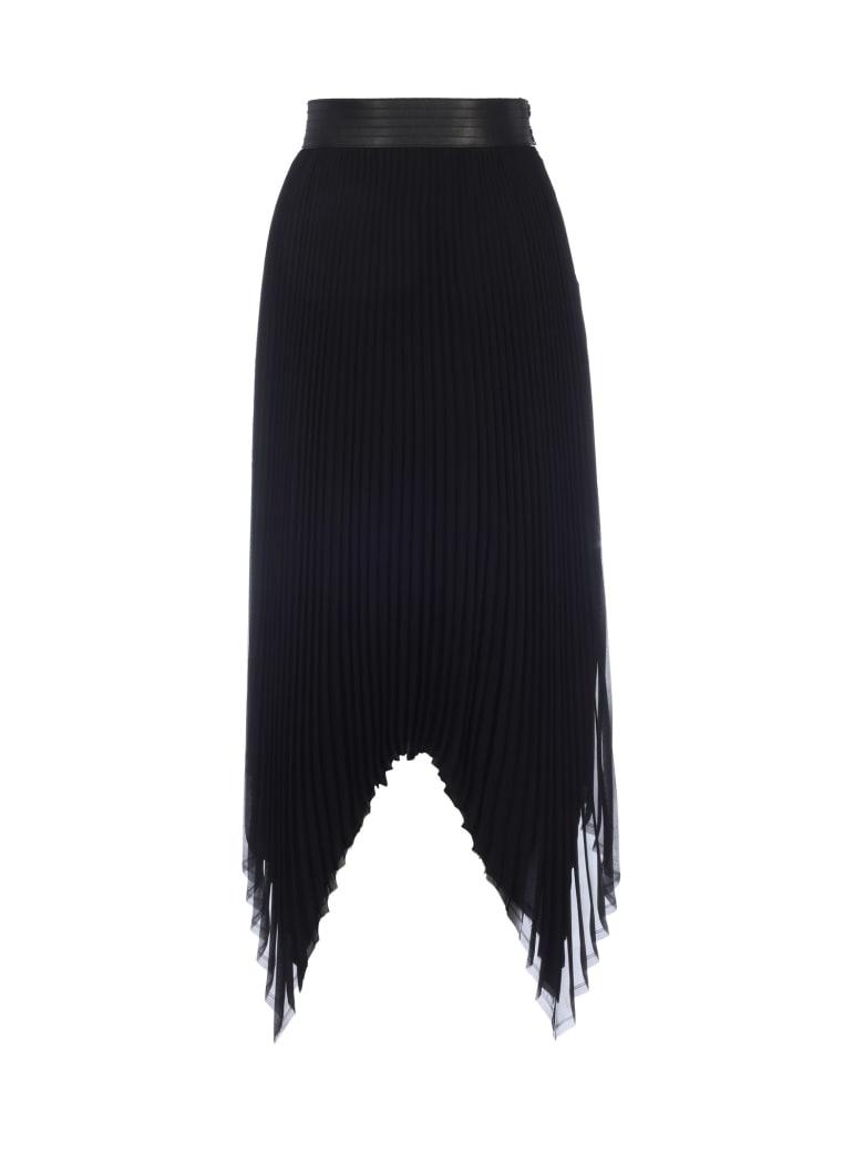 Loewe Pleated Skirt Leather Trim - Black