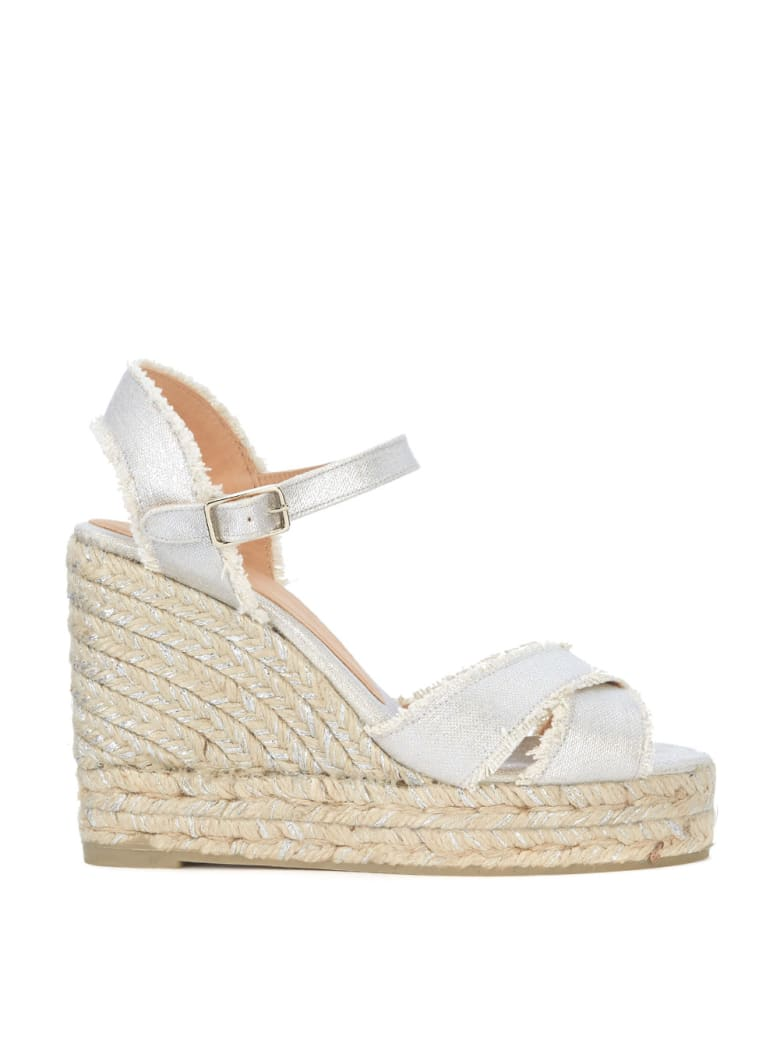 Castañer Bromelia Silver Fabric Wedge Sandal With Fringe - ARGENTO