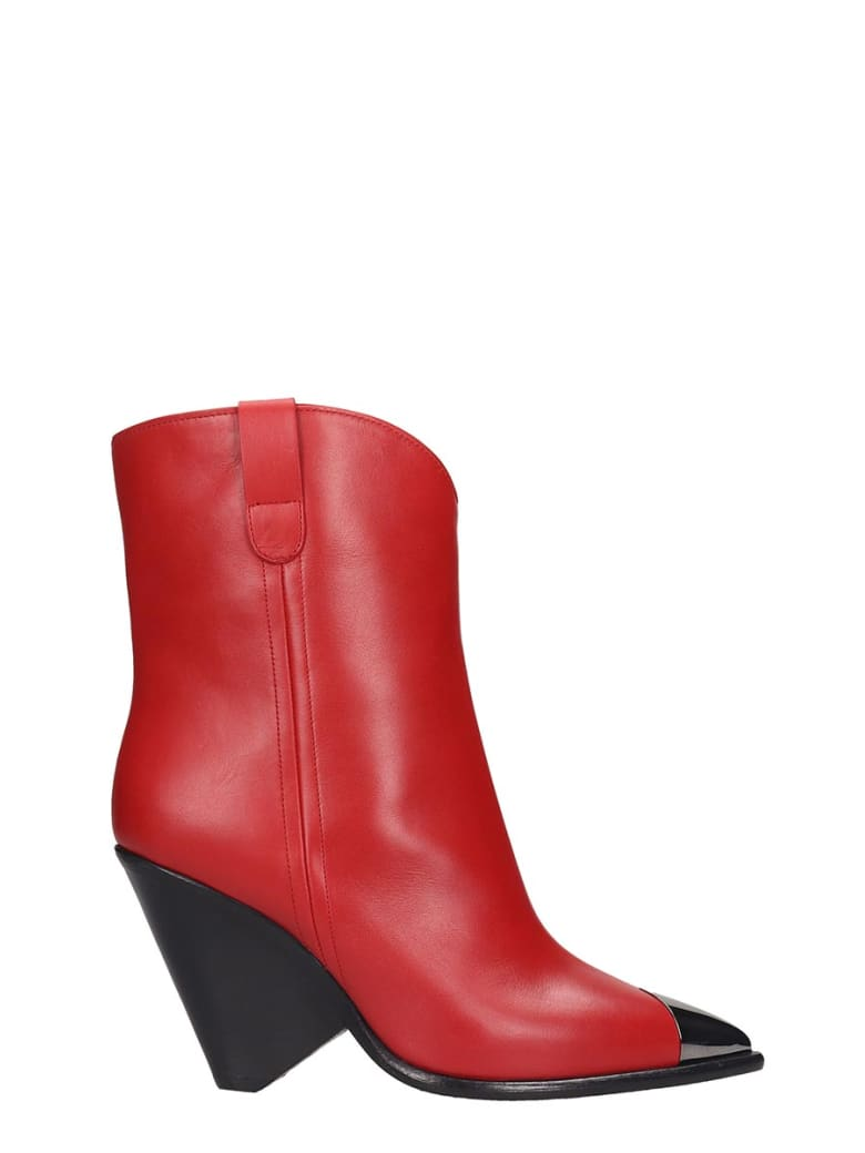 The Seller Texan Ankle Boots In Red Leather - red