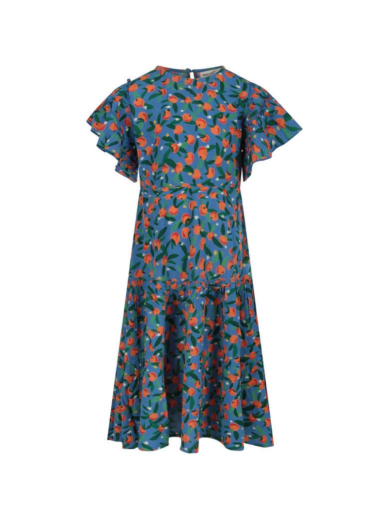 Bobo Choses Light Blue Dress For Girl With Ornage Tangerine - Light Blue