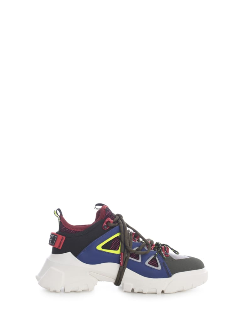 McQ Alexander McQueen Orbyt Mid Sneakers 3 Neon Colours - Neon Yellow Red Blue