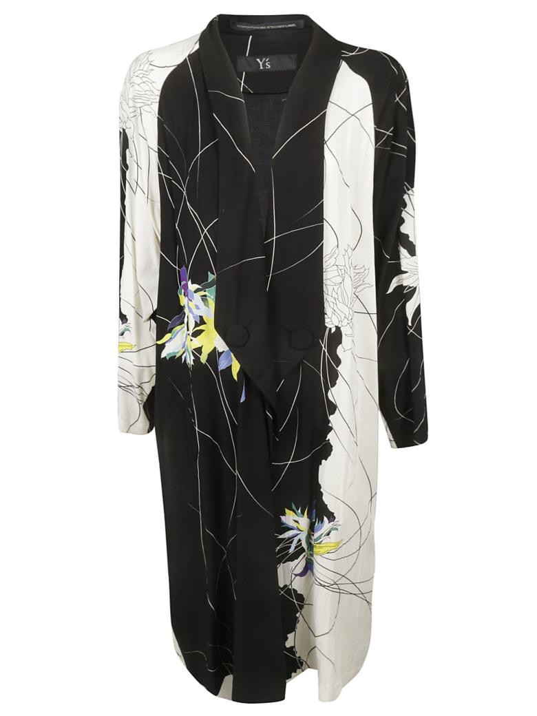 Y's Floral Print Long Coat - Black/White
