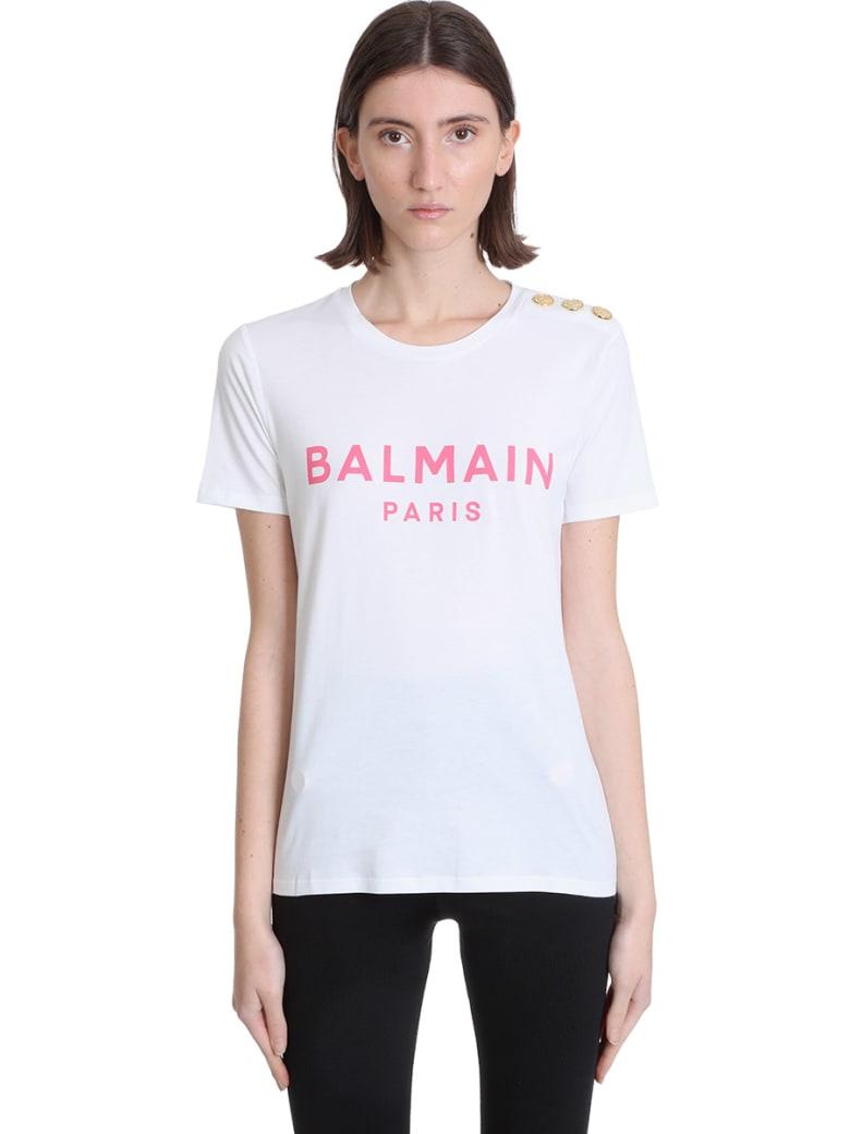 Balmain T-shirt In White Cotton - Blanc/rose