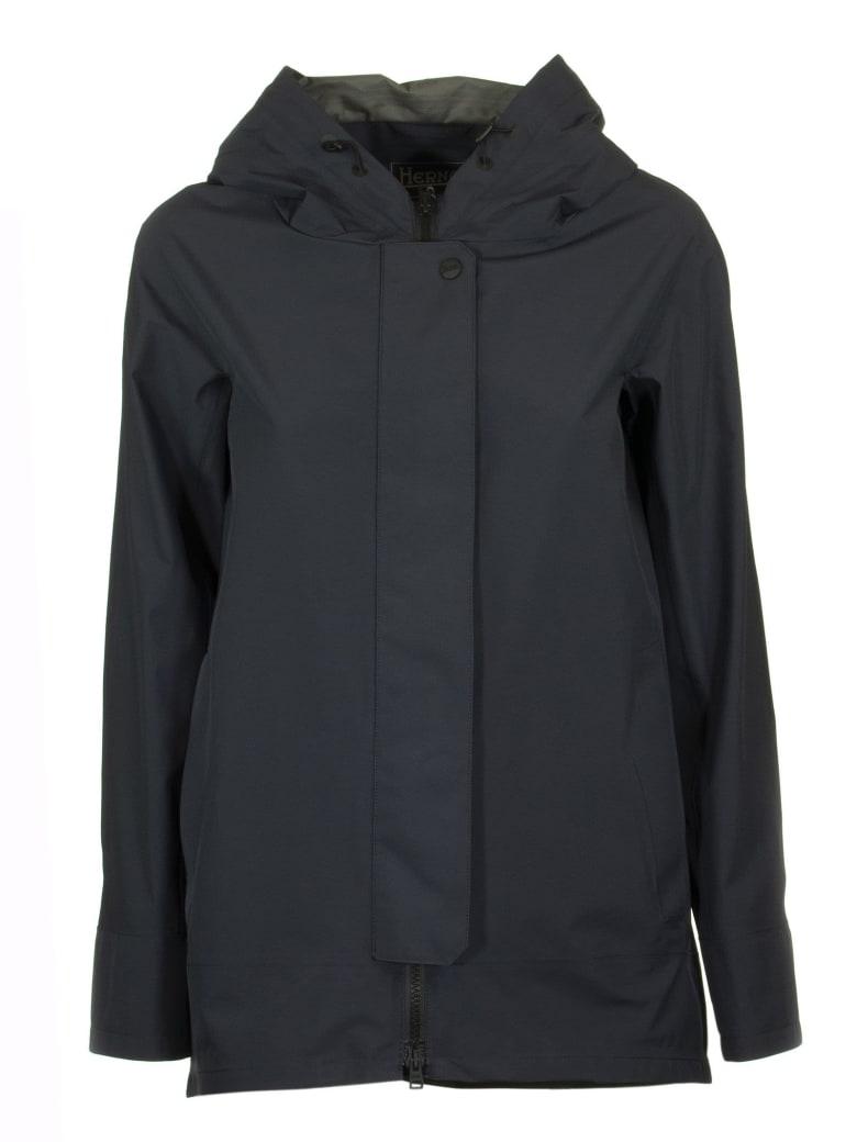 Herno Hooded Raincoat - Blue